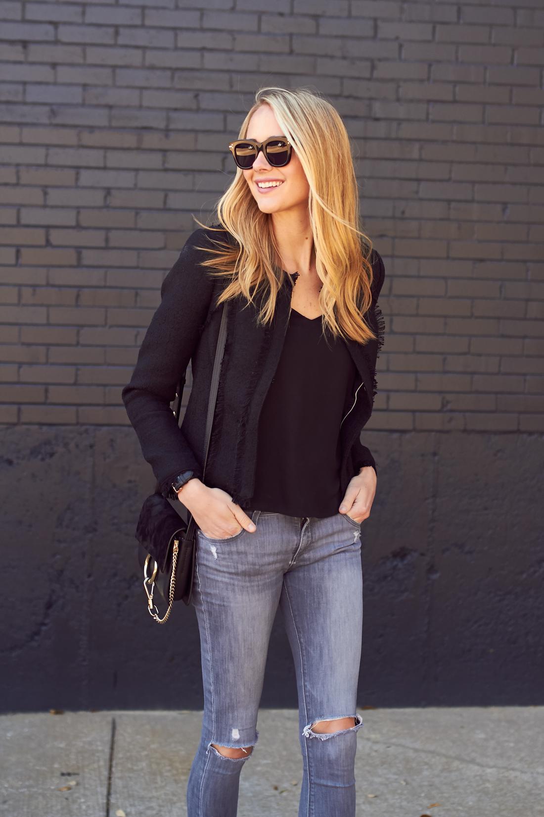 fashion-jackson-black-celine-sunglasses-black-tweed-jacket-grey-ripped-skinny-jeans