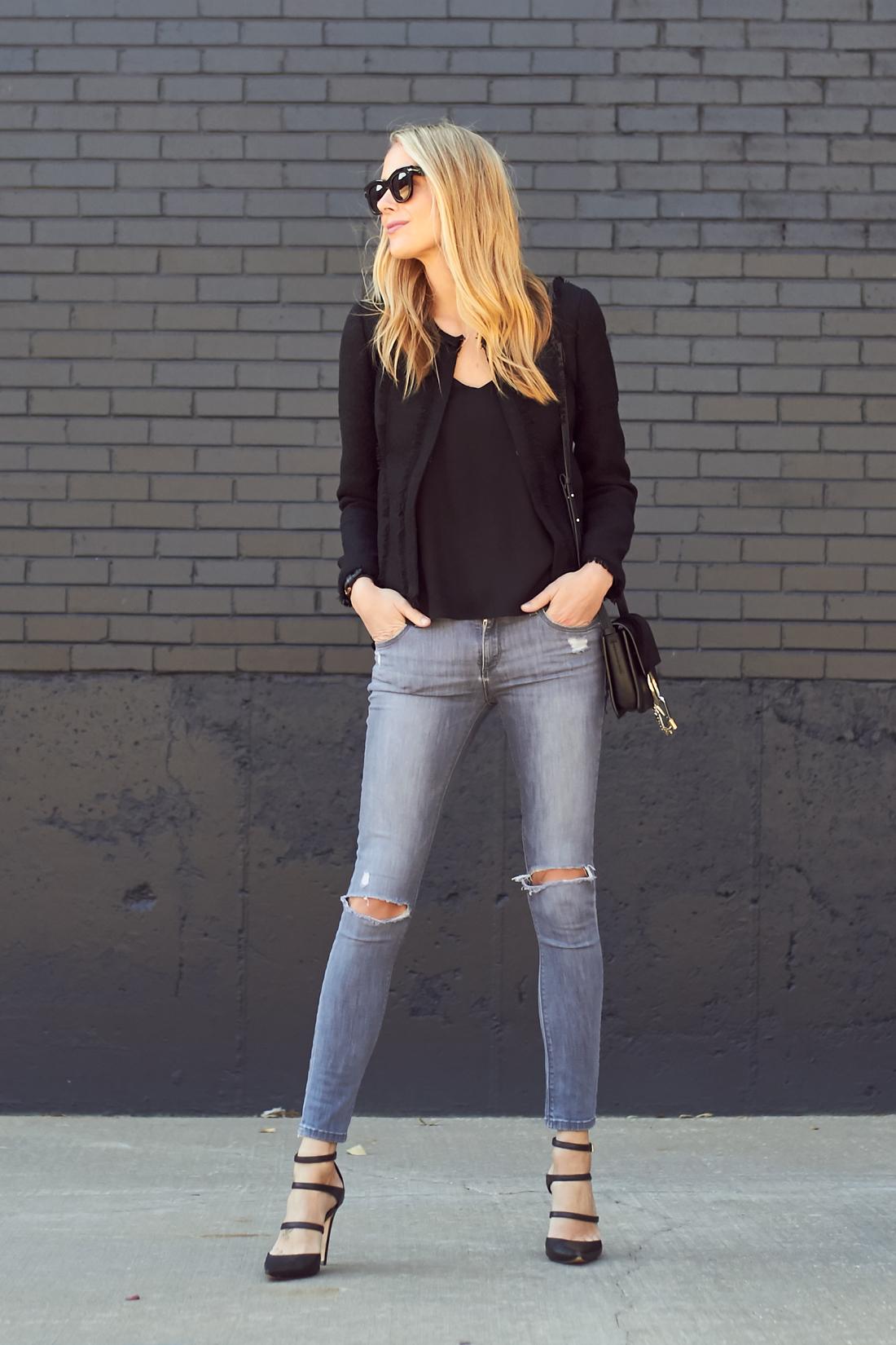 fashion-jackson-black-tweed-jacket-grey-ripped-skinny-jeans-triple-strap-pumps
