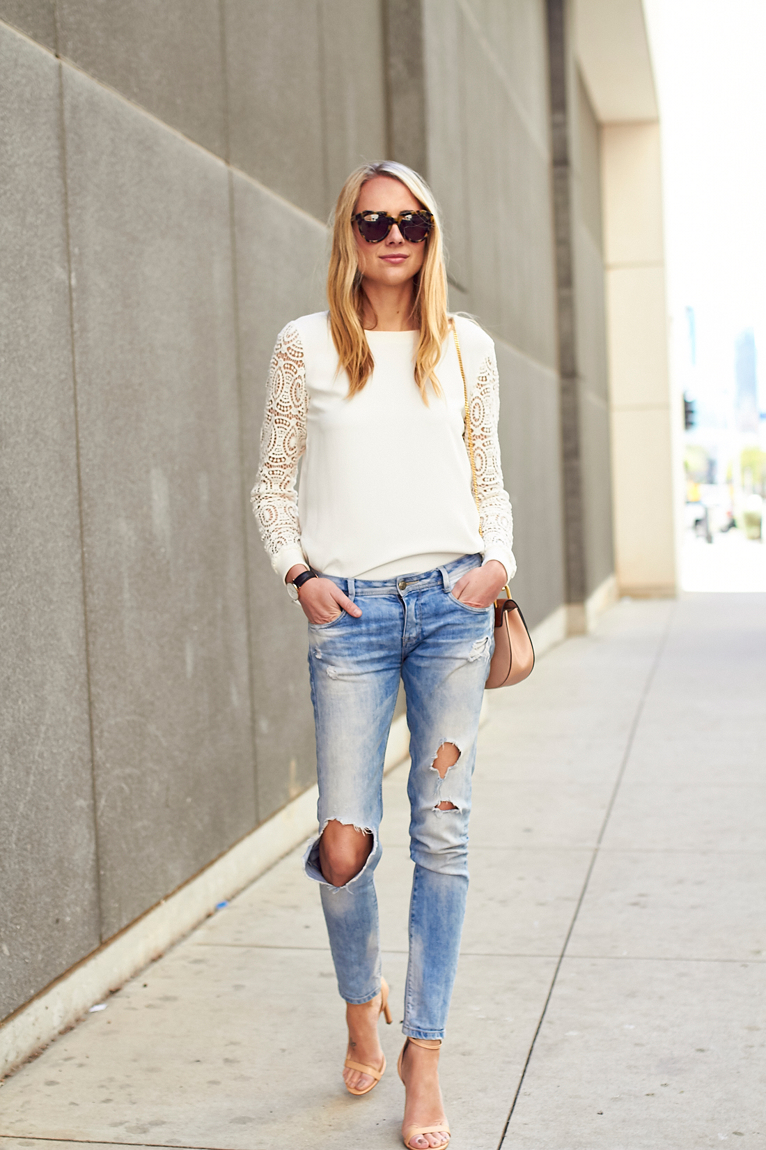 fashion_jackson_ripped_denim_skinny_jeans_nude_ankle_strap_heels_loft_lace_sleeve_blouse_tortoise_sunglasses