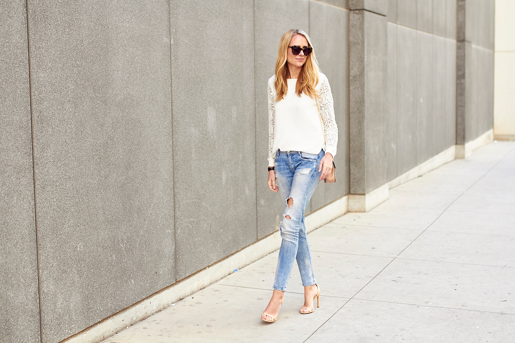 fashion_jackson_white_lace_sleeve_blosue_ripped_denim_skinny_jeans_nude_ankle_strap_heels