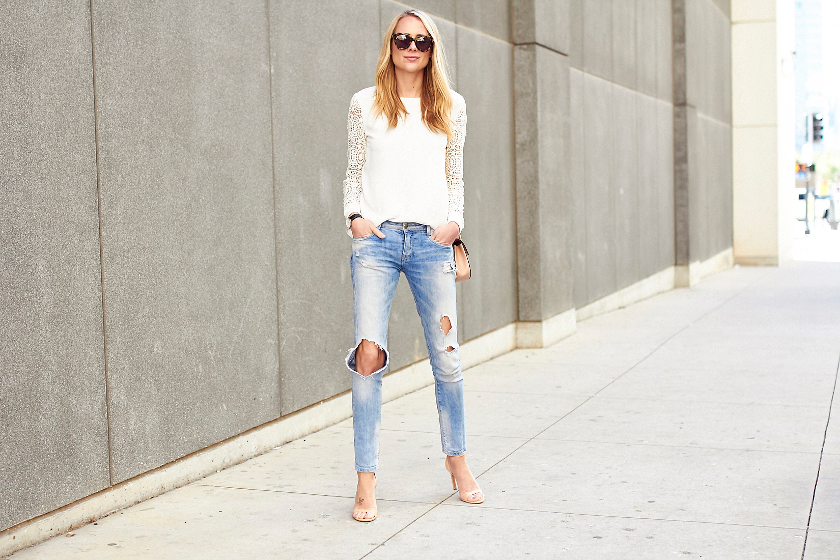 fashion_jackson_white_lace_sleeve_blosue_ripped_denim_skinny_jeans_nude_ankle_strap_heels_tortoise_sunglasses