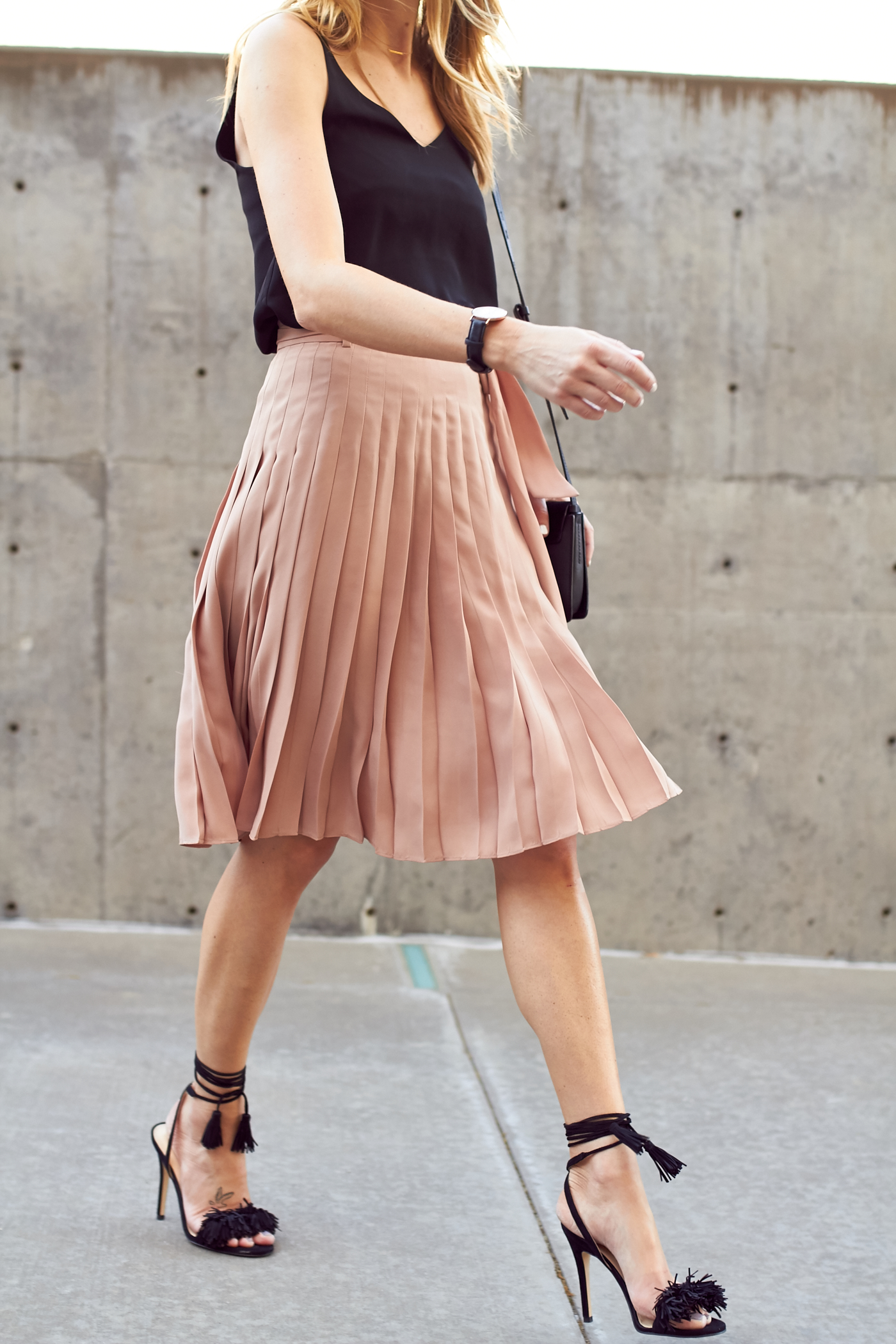 pink pleated skirt fashion jackson