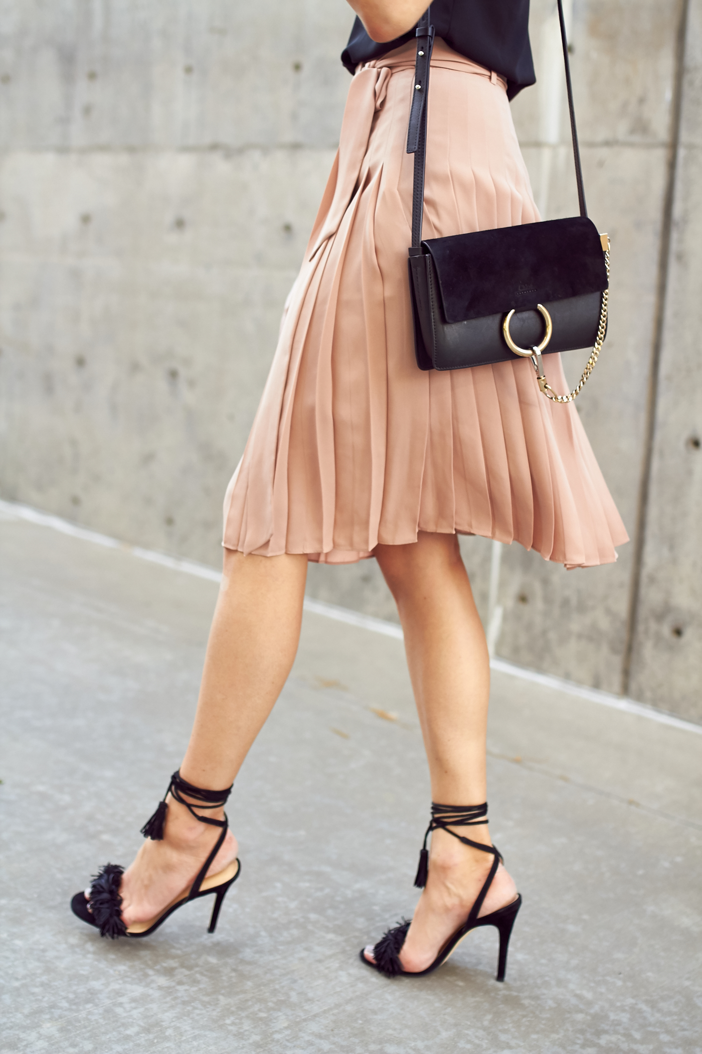 fashion-jackson-black-fringe-heels-pink-pleated-skirt-chloe-black-faye-handbag