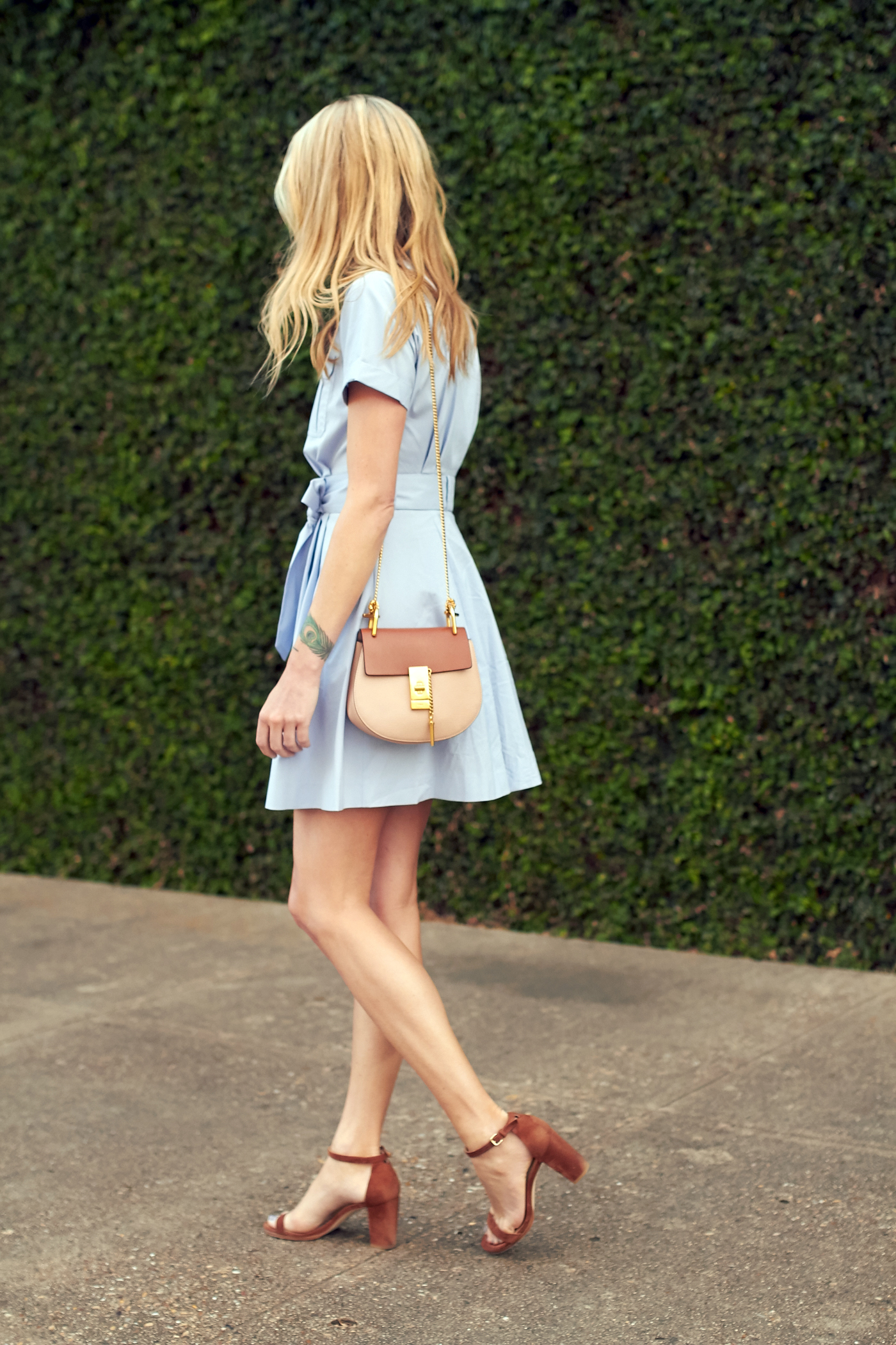 fashion-jackson-chloe-drew-handbag-nordstrom-blue-shirtdress-stuart-weitzman-nearly-nude-sandals