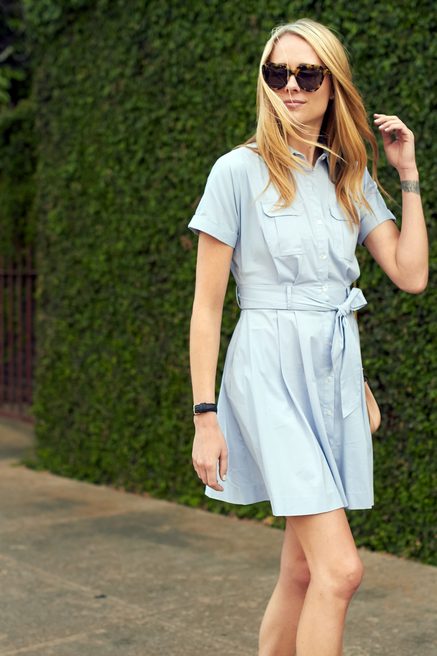 fashion-jackson-karen-walker-sunglasses-nordstrom-blue-shirtdress