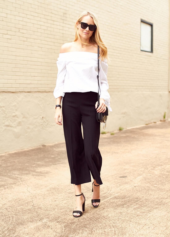 fashion-jackson-white-off-the-shoulder-top-black-culottes-black-block-heel-sandals-chloe-faye-handbag-celine-sunglasses