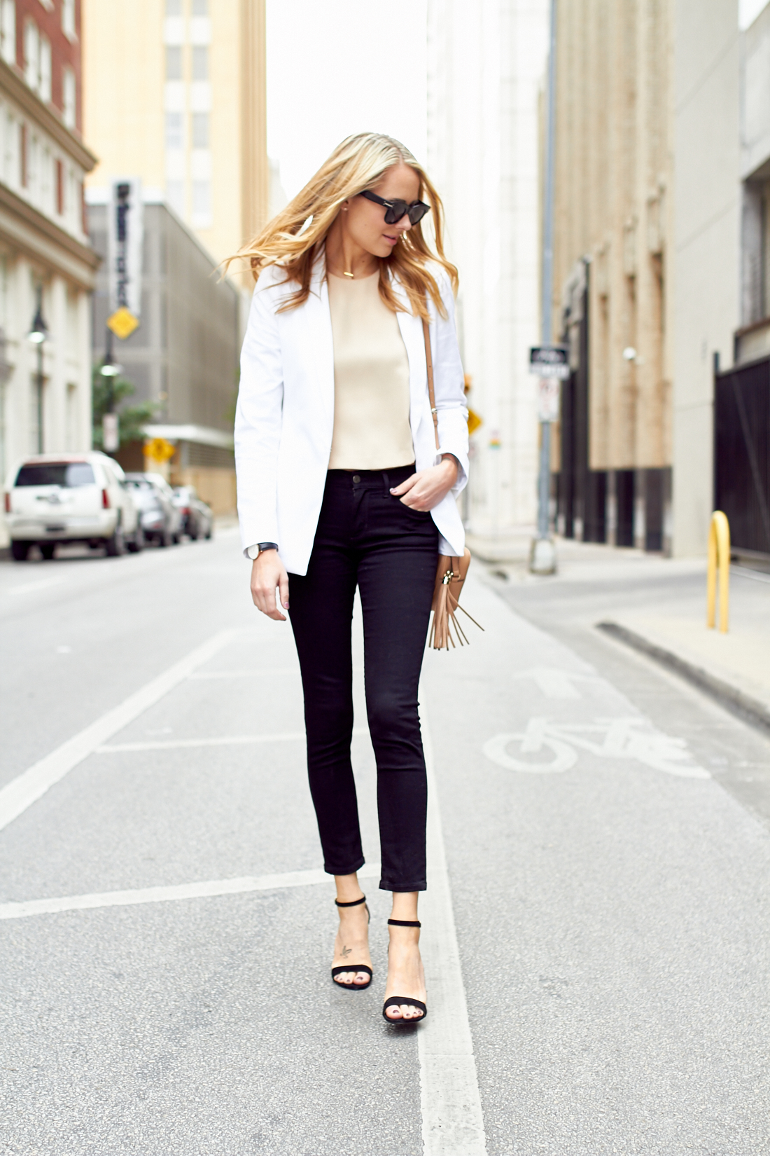 buy sale luxury favorable price WHITE BLAZER & BLACK SKINNY JEANS   Fashion Jackson
