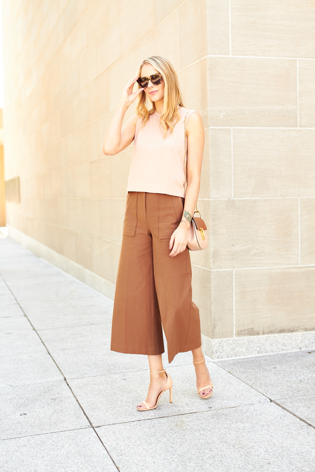 fashion-jackson-blush-shell-sweater-ann-taylor-wide-leg-ankle-pants-nude-ankle-strap-sandals
