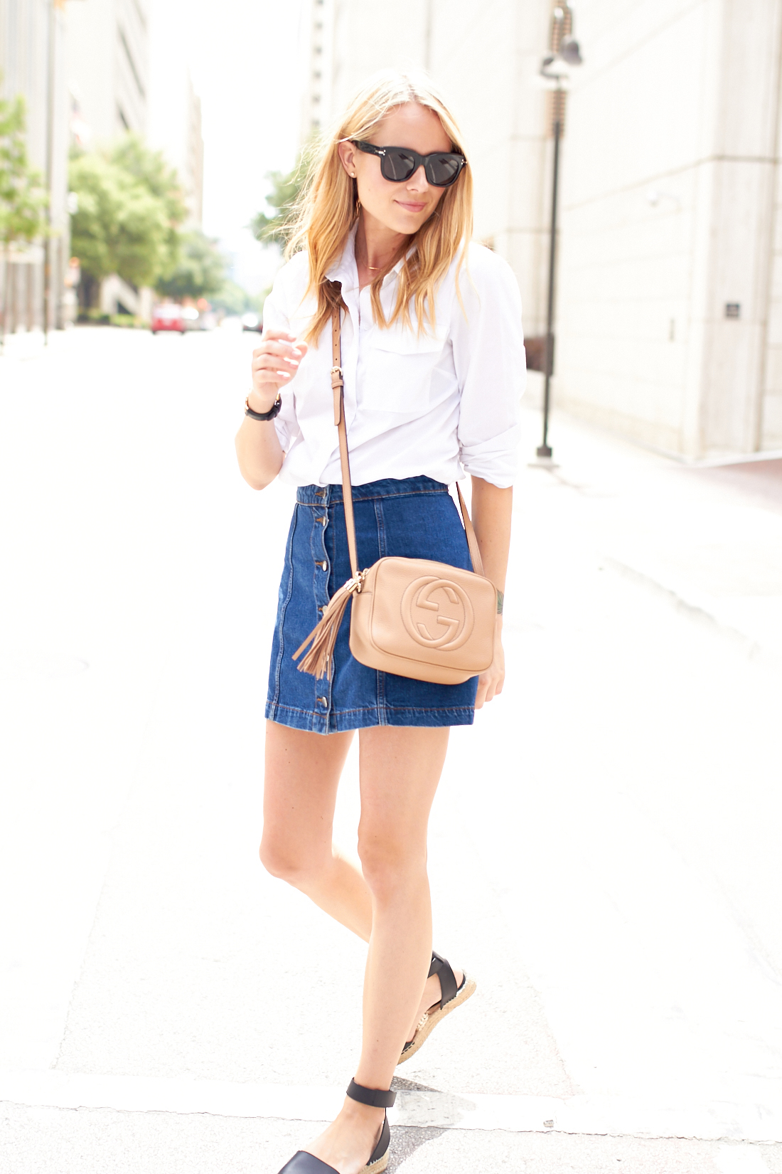 BUTTON FRONT DENIM SKIRT | Fashion Jackson