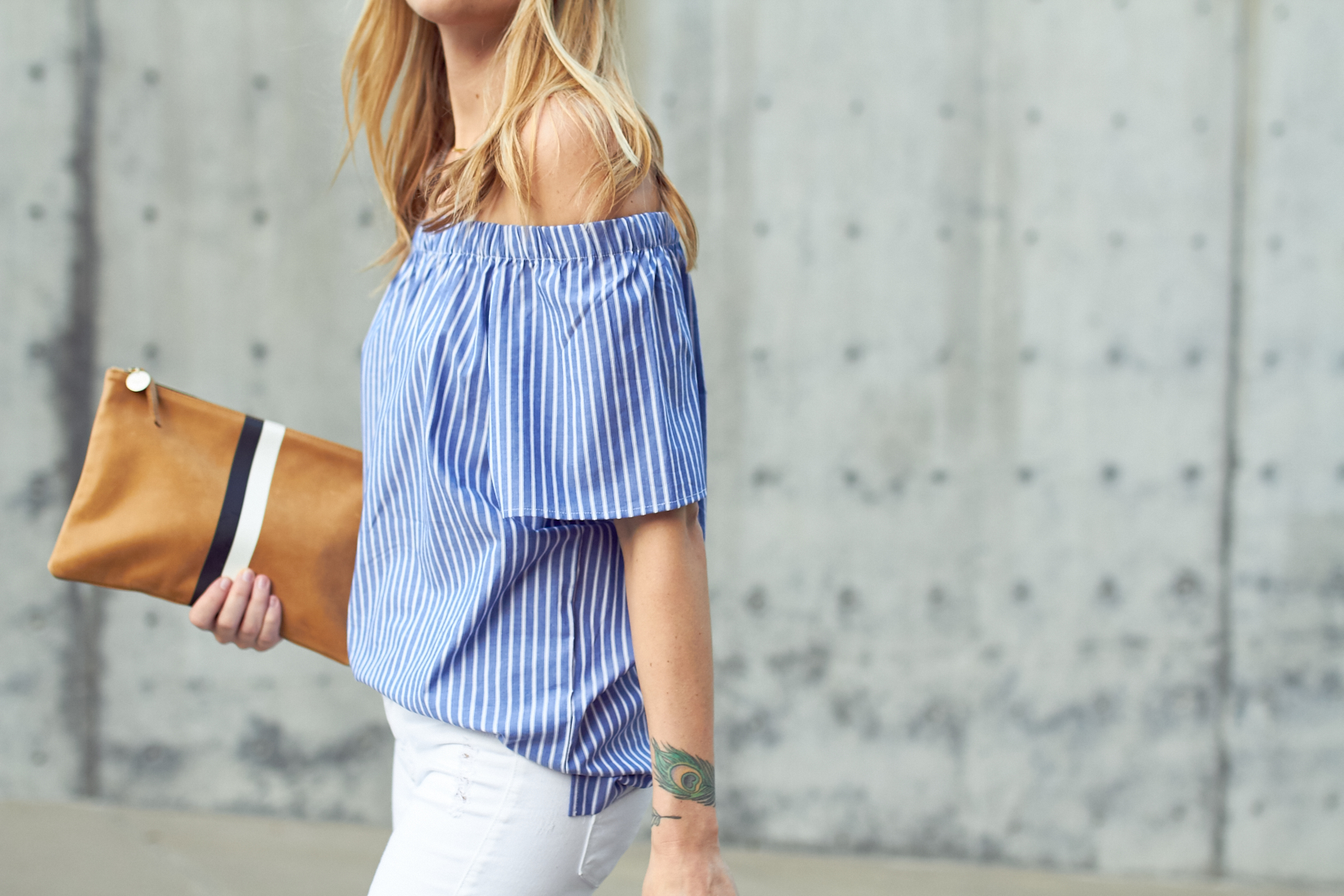 fashion-jackson-banana-republic-blue-stripe-off-the-shoulder-top-clare-v-clutch