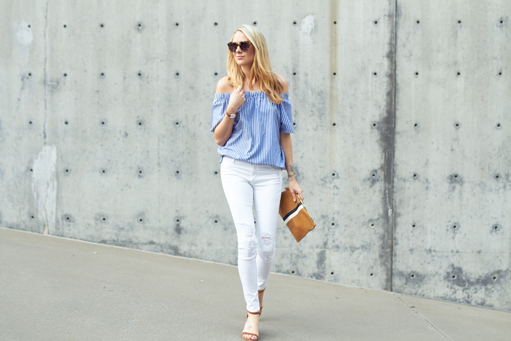 fashion-jackson-banana-republic-blue-stripe-off-the-shoulder-top-white-skinny-jeans-stuart-weitzman-nearly-nude-sandals-clare-v-clutch-karen-walker-number-one-sunglasses