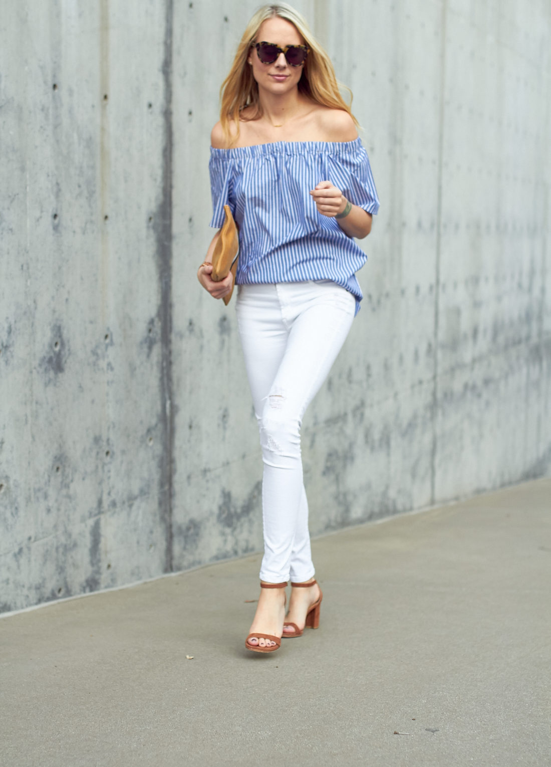 fashion-jackson-banana-republic-blue-stripe-off-the-shoulder-top-white-skinny-jeans-stuart-weitzman-nearly-nude-sandals-karen-walker-number-one-sunglasses