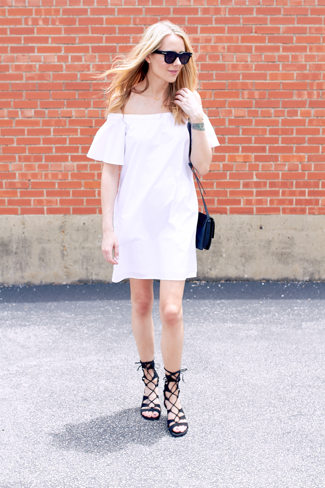 Black White and Off the Shoulder Dress