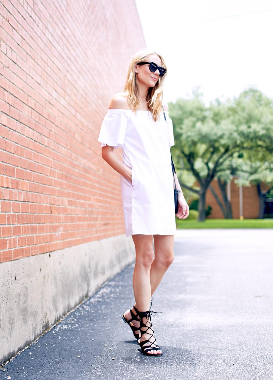 fashion-jackson-banana-republic-white-off-the-shoulder-dress-black-lace-up-sandals-black-celine-sunglasses