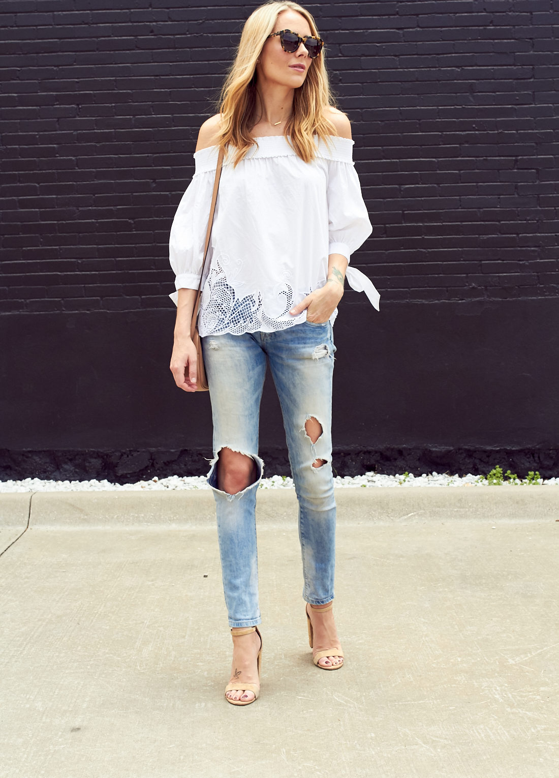 fashion-jackson-white-off-the-shoulder-cutout-top-denim-ripped-jeans-nude-ankle-strap-heels