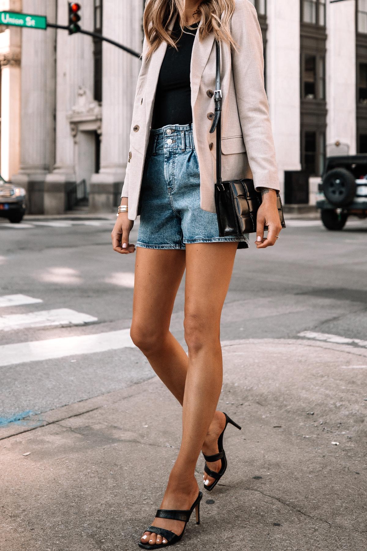 Fashion Jackson Wearing Beige Blazer Denim Shorts Black Heels Spring Outfit