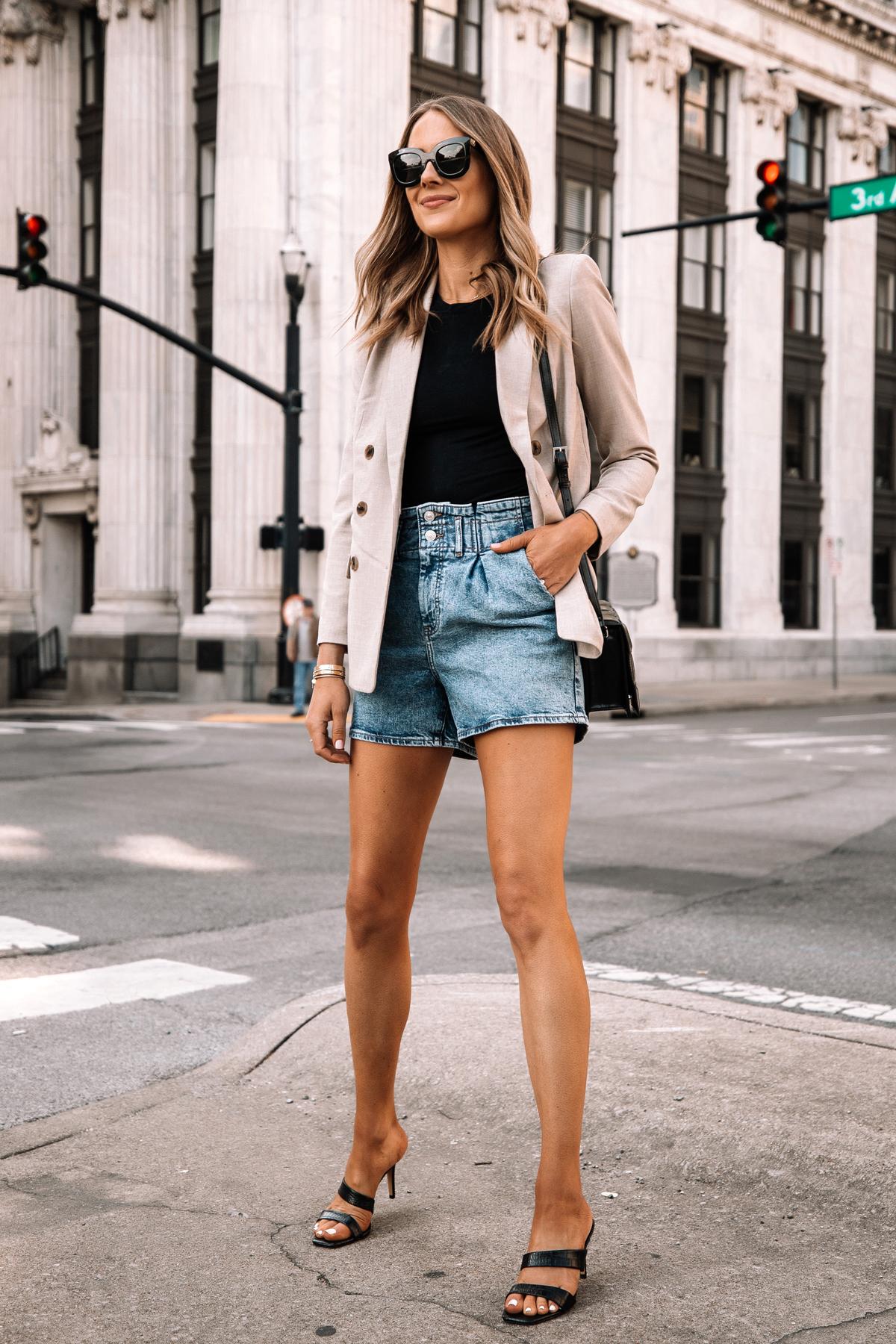 Fashion Jackson Wearing Beige Blazer Denim Shorts Black Heels Street Style Spring Outfit 1