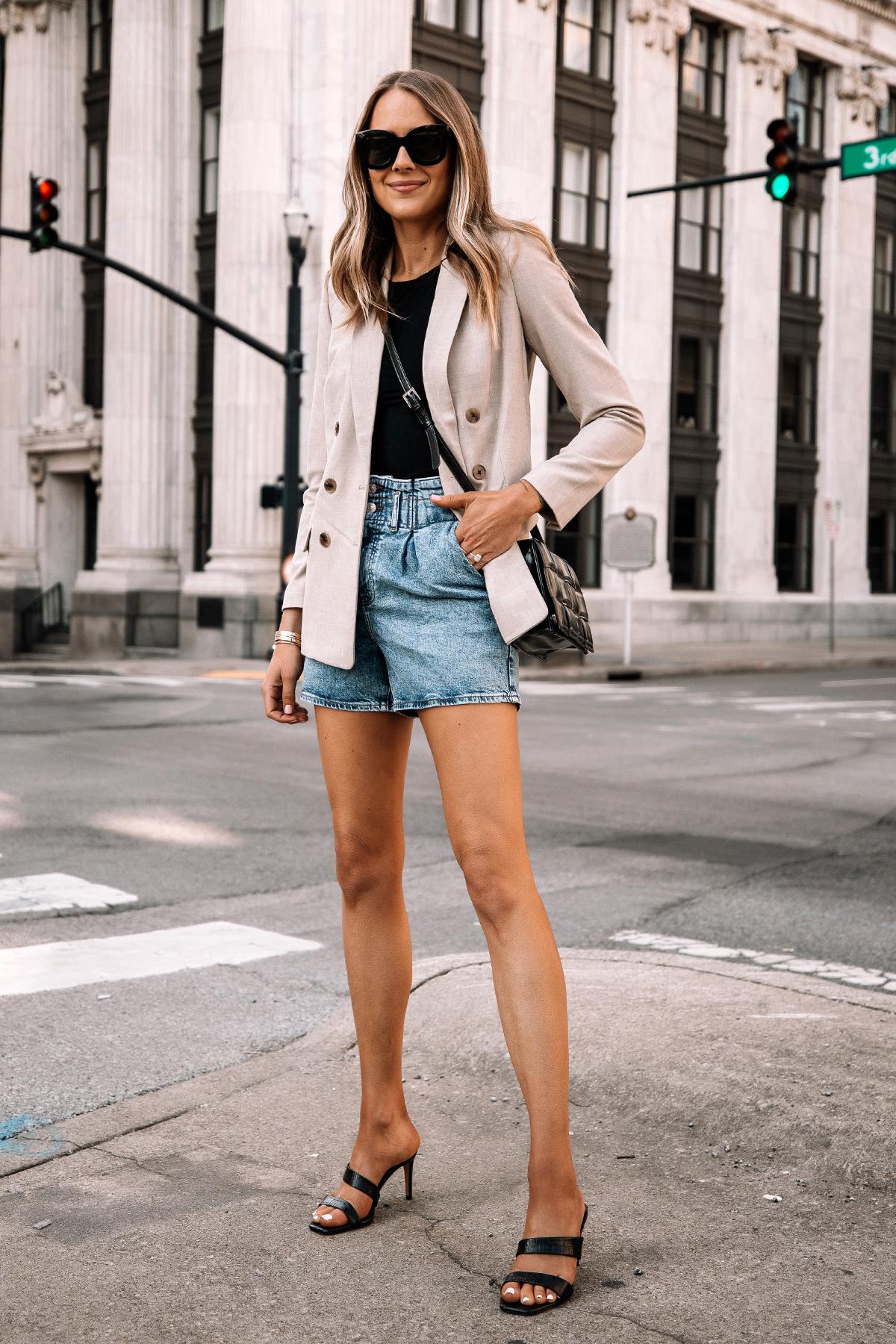 Fashion Jackson Wearing Beige Blazer Denim Shorts Black Heels Street Style Spring Outfit 2