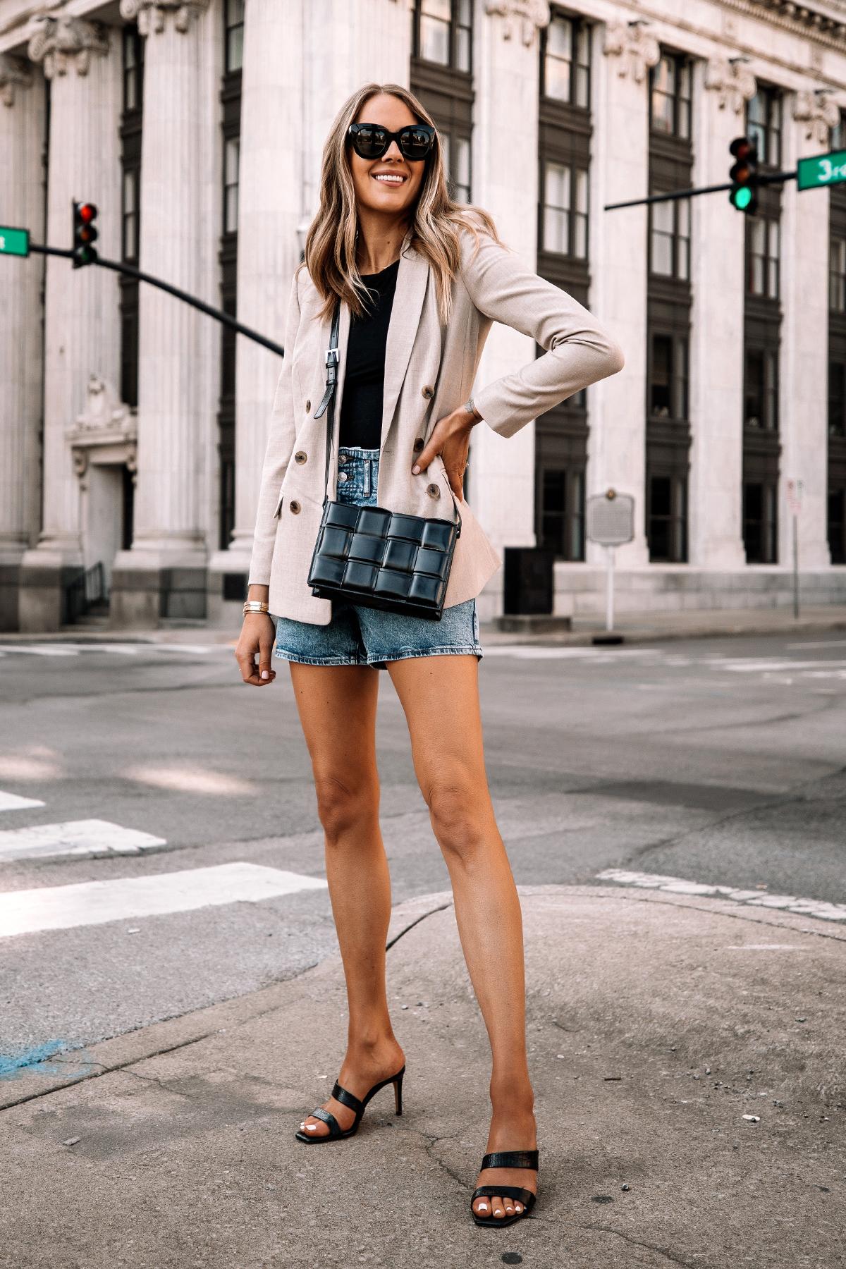 Fashion Jackson Wearing Beige Blazer Denim Shorts Black Heels Street Style Spring Outfit