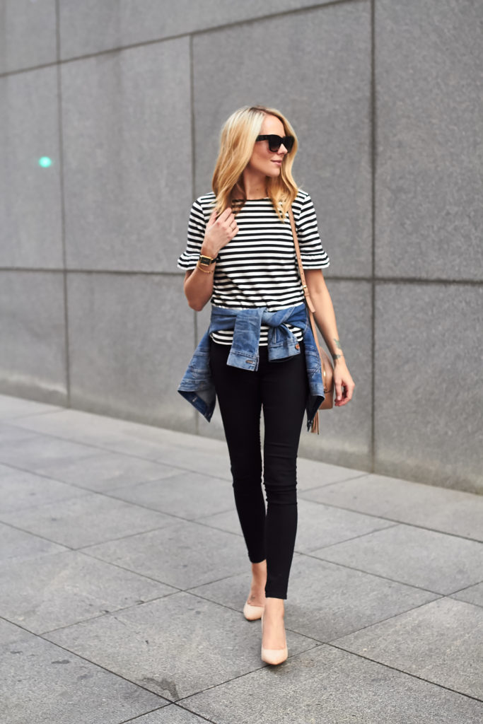 RUFFLE SLEEVE STRIPE TOP | Fashion Jackson