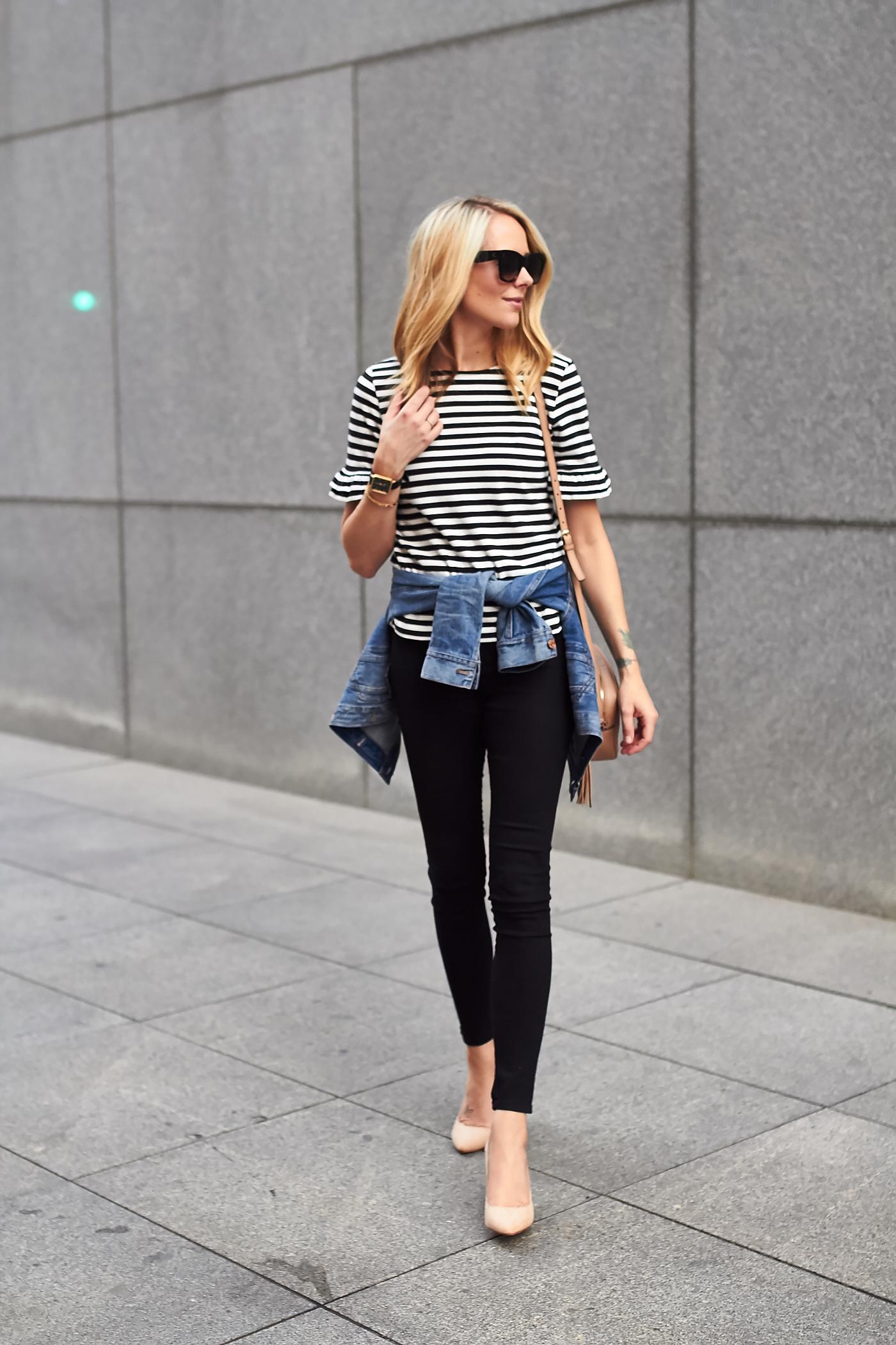 Ruffle Sleeve Stripe Top  Fashion Jackson-9064