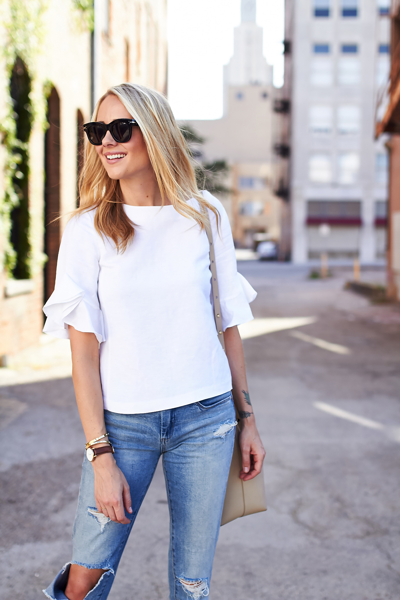 fashion-jackson-celine-sunglasses-white-ruffle-sleeve-top-ripped-skinny-jeans-nordstrom-anniversary-sale