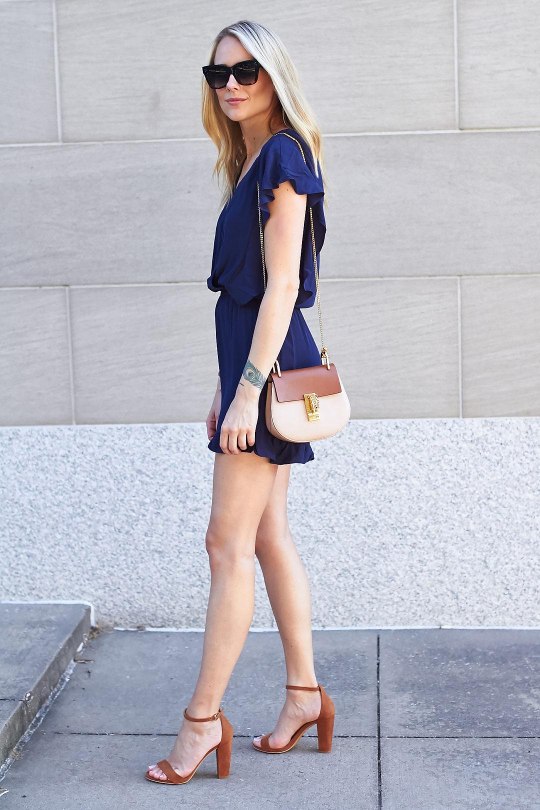 fashion-jackson-chloe-drew-handbag-hm-navy-blue-ruffle-romper-tan-ankle-strap-sandals