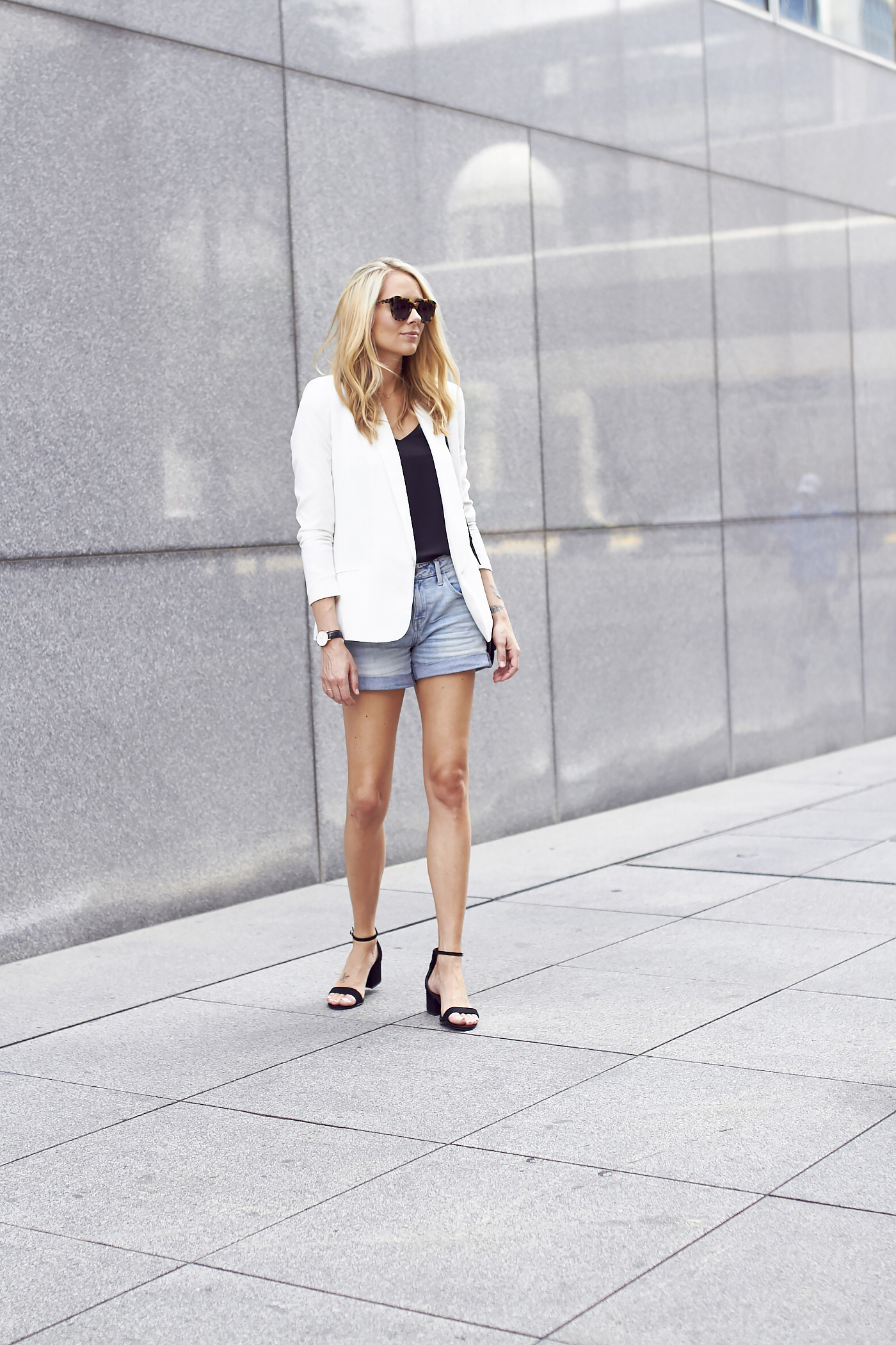 White Blazer Amp Denim Shorts Fashion Jackson