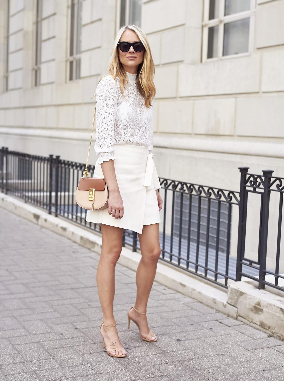 fashion-jackson-white-lace-blouse-topshop-blush-wrap-miniskirt-chloe-drew-handbag-black-celine-sunglasses-nude-ankle-strap-heels