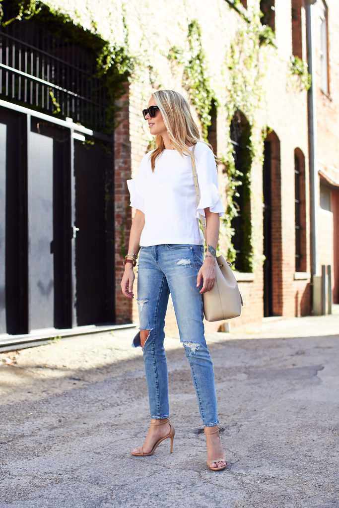 Ruffle Sleeve Top Amp Ripped Skinny Jeans Fashion Jackson