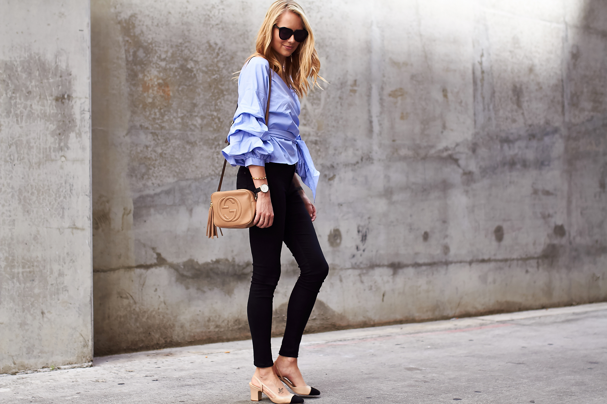 BLUE RUFFLE SLEEVE TOP... Ivanka Trump Shoes Nordstrom