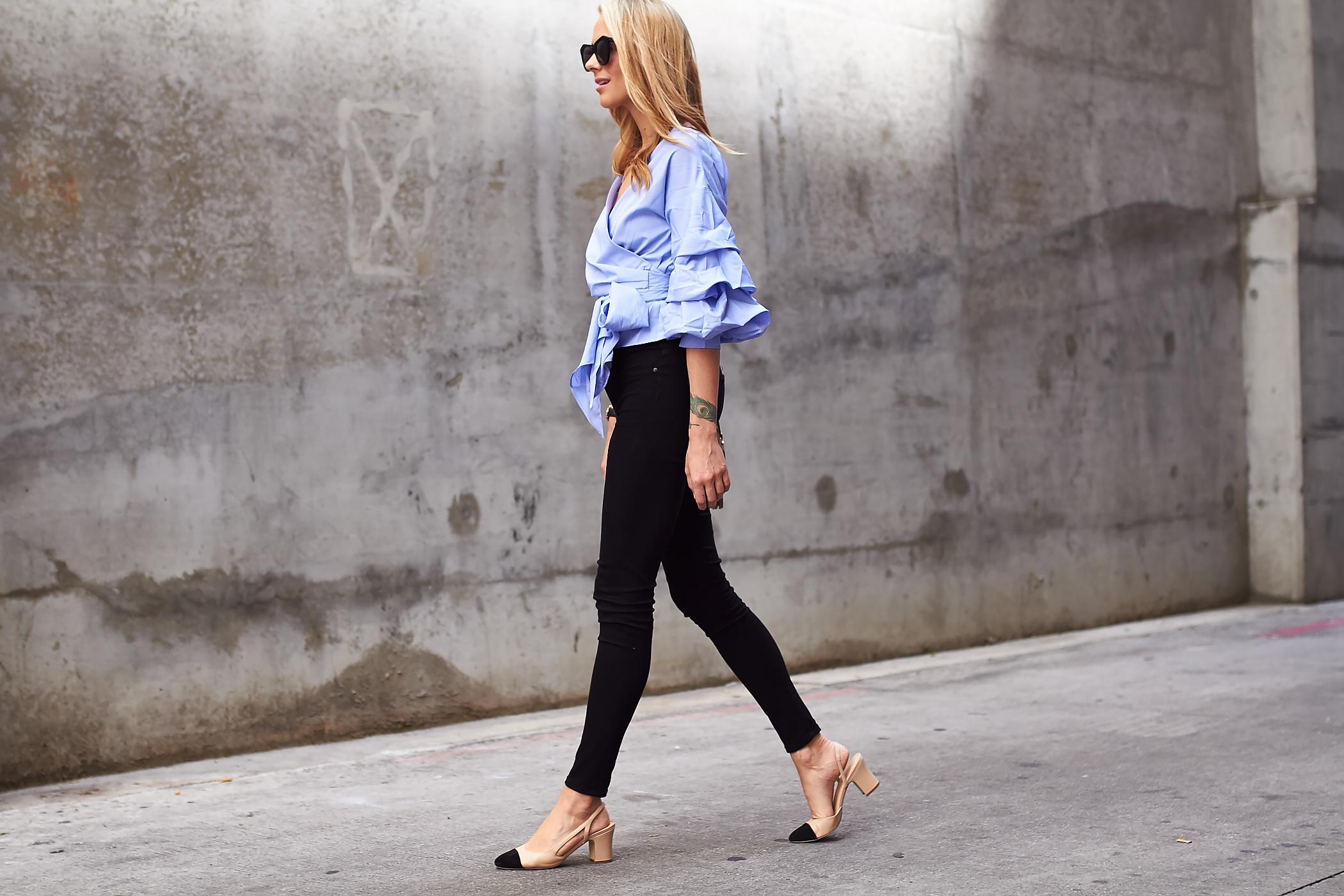 fashion-jackson-blue-ruffle-sleeve-wrap-blouse-black-skinny-jeans-ivanka-trump-liah-shoes