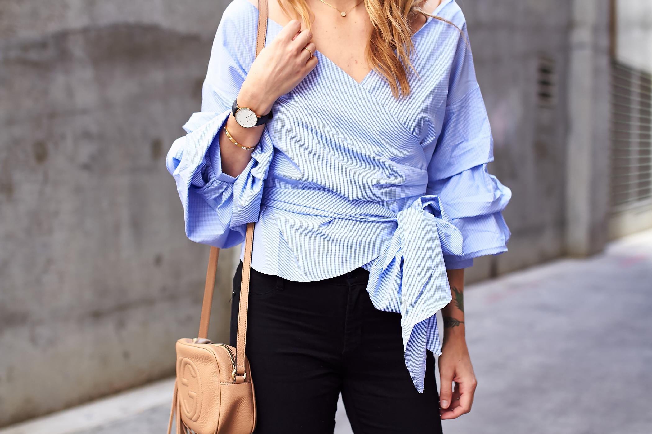 fashion-jackson-blue-ruffle-sleeve-wrap-blouse