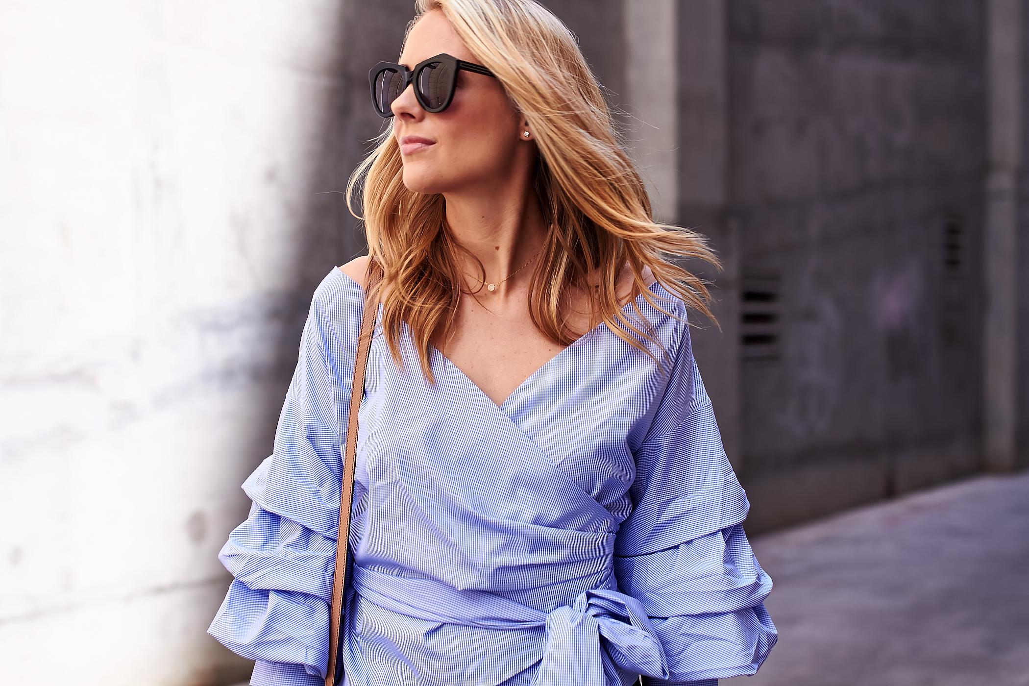 fashion-jackson-blue-ruffle-sleeve-wrap-top