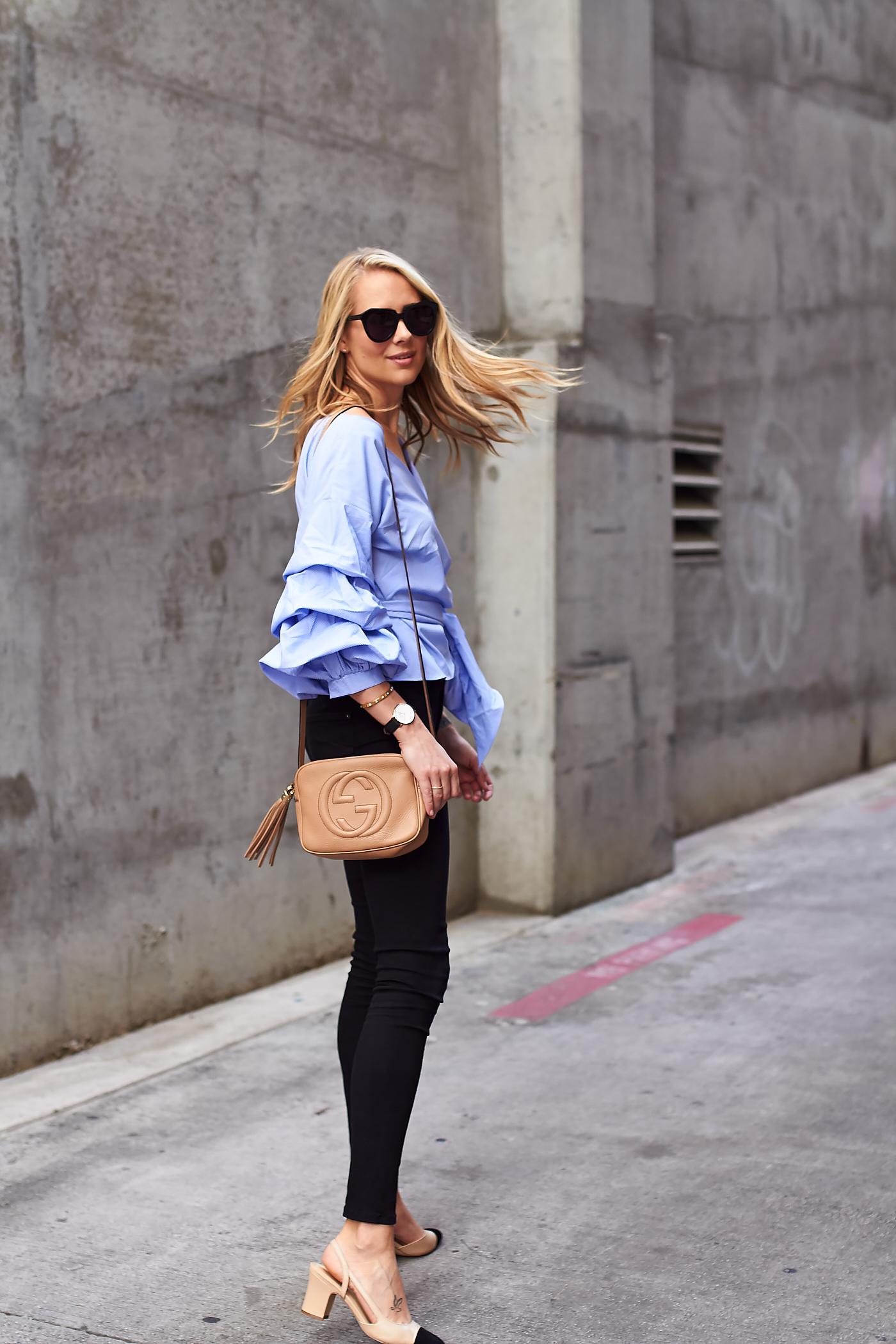 fashion-jackson-gucci-soho-handbag-blue-ruffle-sleeve-wrap-blouse-black-skinny-jeans-james-jeans