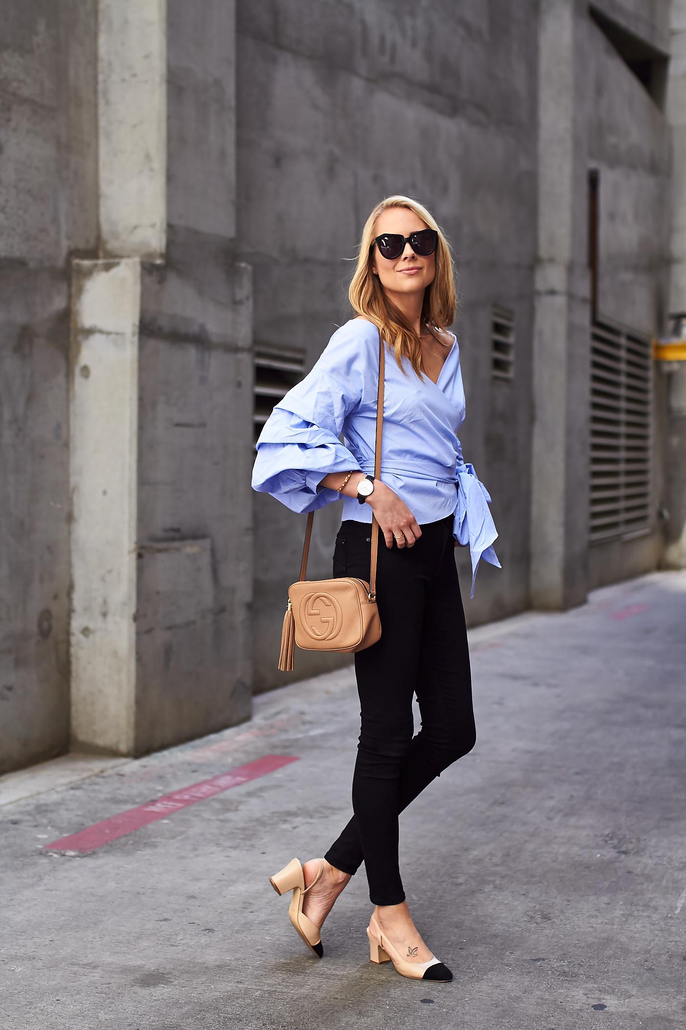 fashion-jackson-james-jeans-black-skinny-jeans-blue-ruffle-sleeve-wrap-top-gucci-soho-handbag