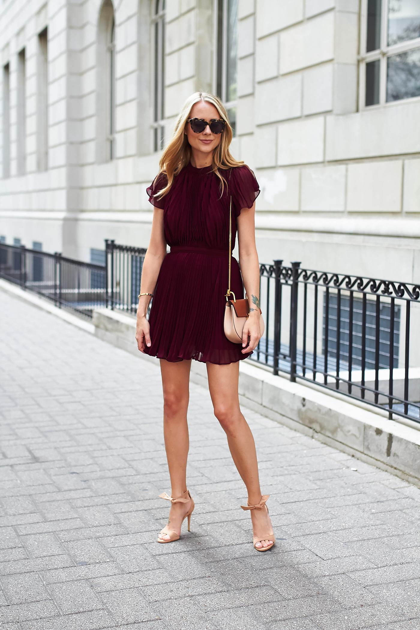 fashion-jackson-keepsake-come-back-pleated-dress-chloe-drew-handbag-steve-madden-bowwtye-heels