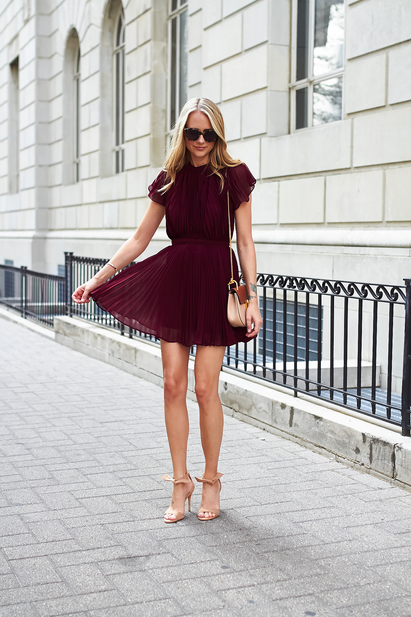 fashion-jackson-keepsake-come-back-pleated-mini-dress-chloe-drew-handbag-steve-madden-bowwtye-heels