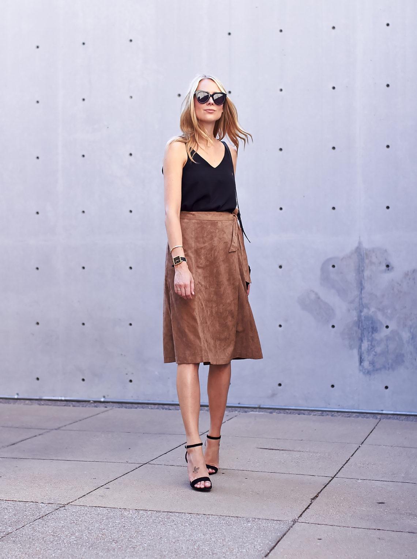 fashion-jackson-tan-suede-wrap-midi-skirt-black-vneck-tank-black-ankle-strap-heels