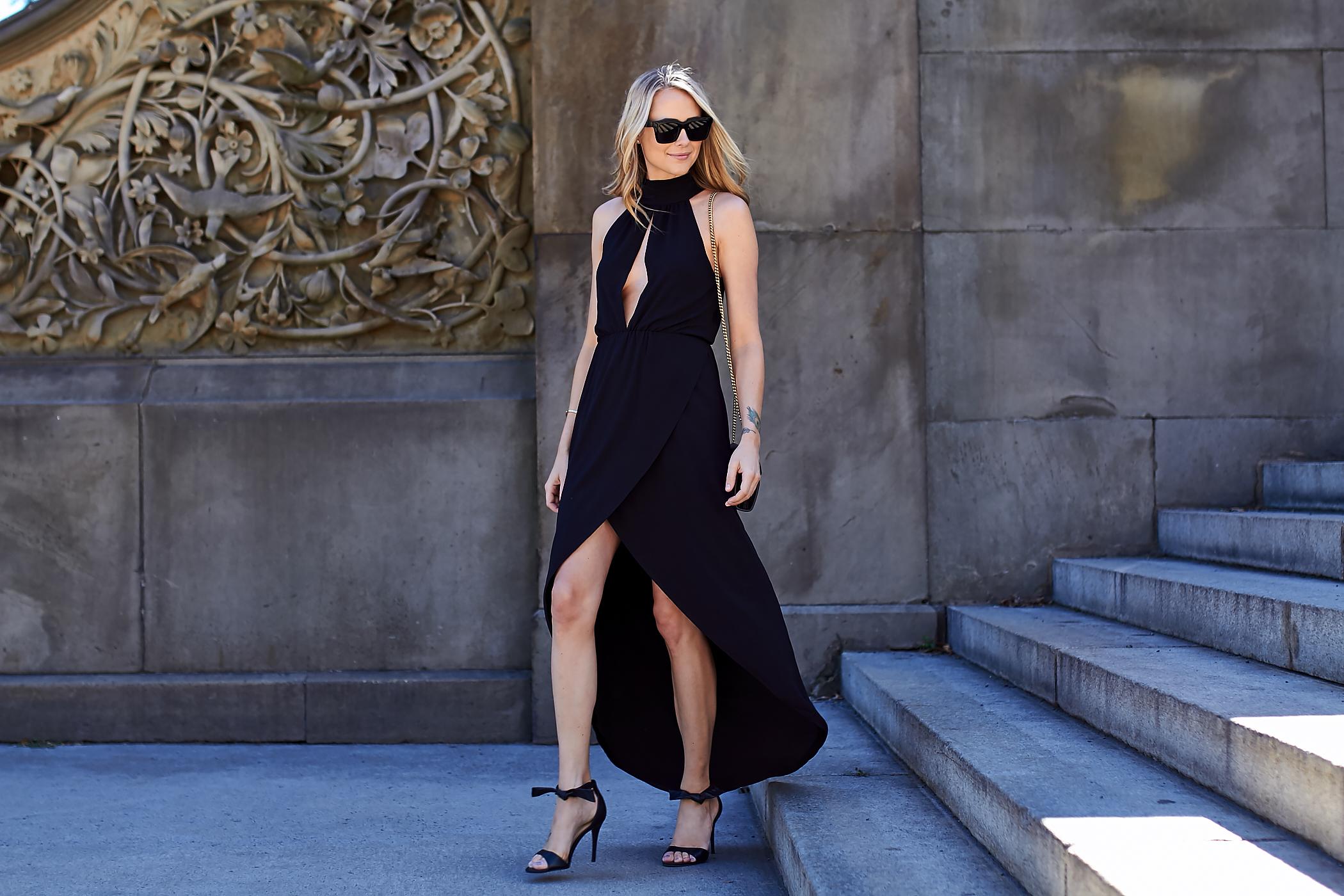 fahsion-jackson-black-high-low-hem-dress-black-bow-heels