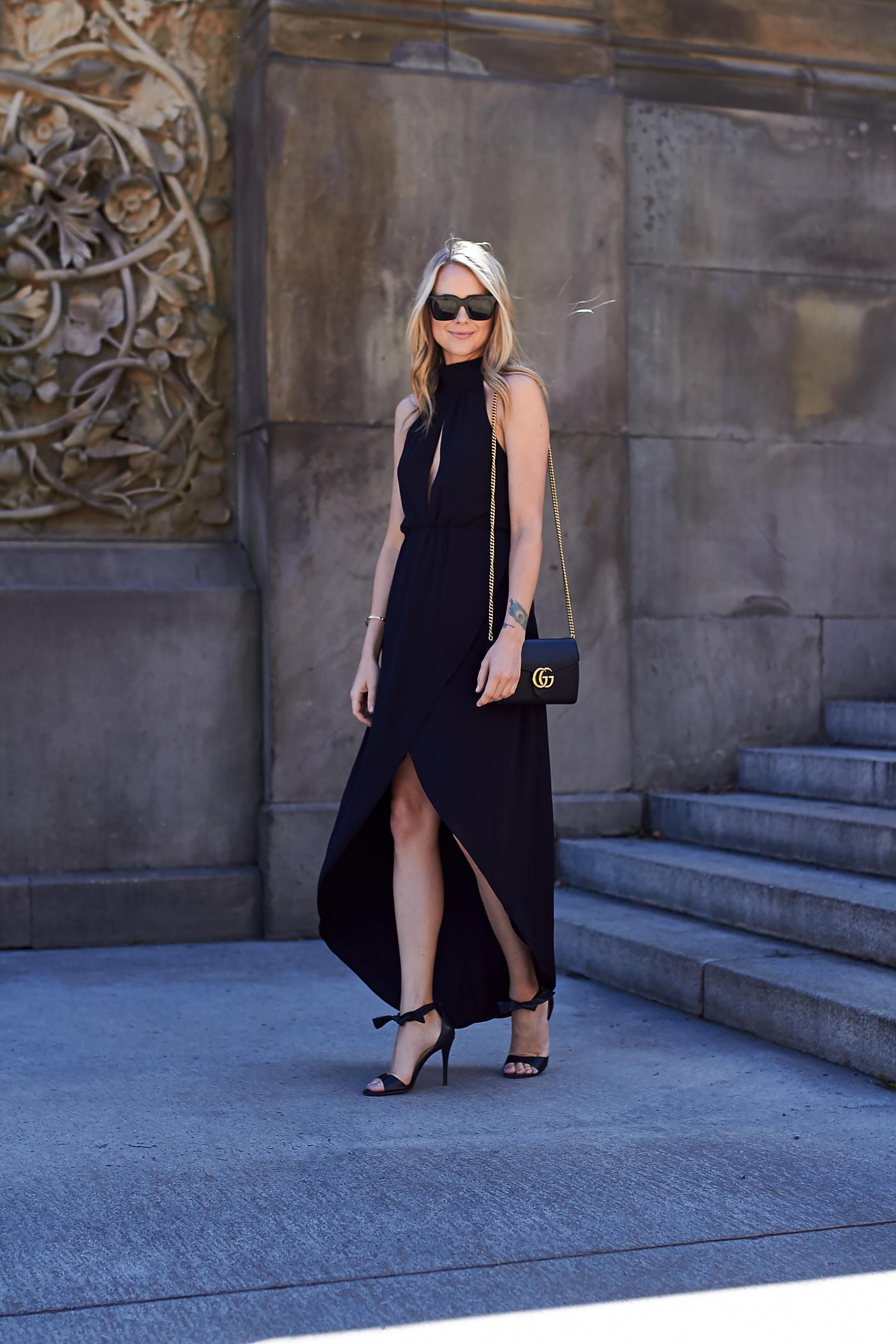 fahsion-jackson-black-high-low-hem-dress-gucci-marmont-handbag-black-bow-heels