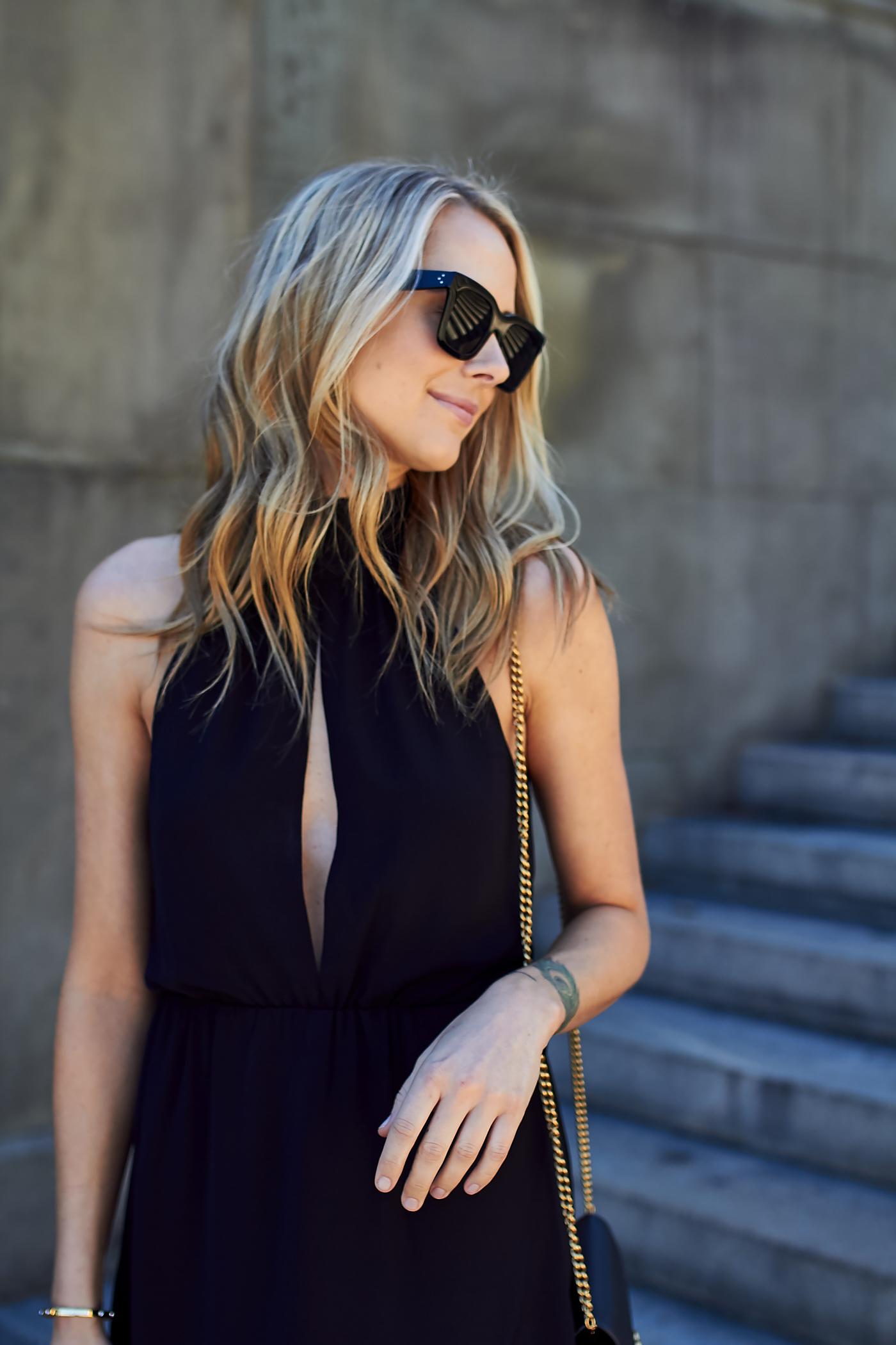 fashion-jackson-black-celine-sunglasses-black-plunge-neck-dress