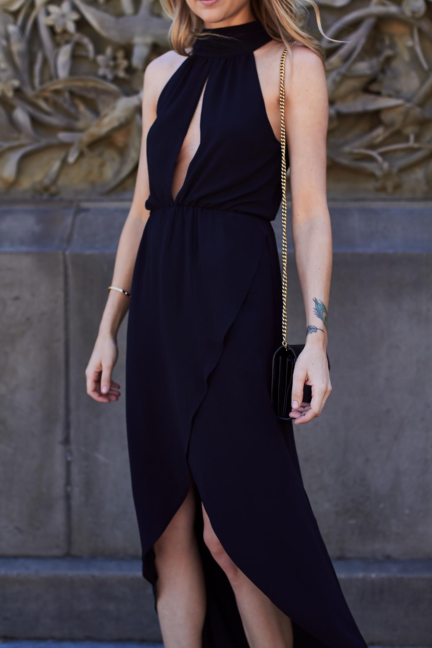 fashion-jackson-black-plunge-neck-high-low-hem-dress