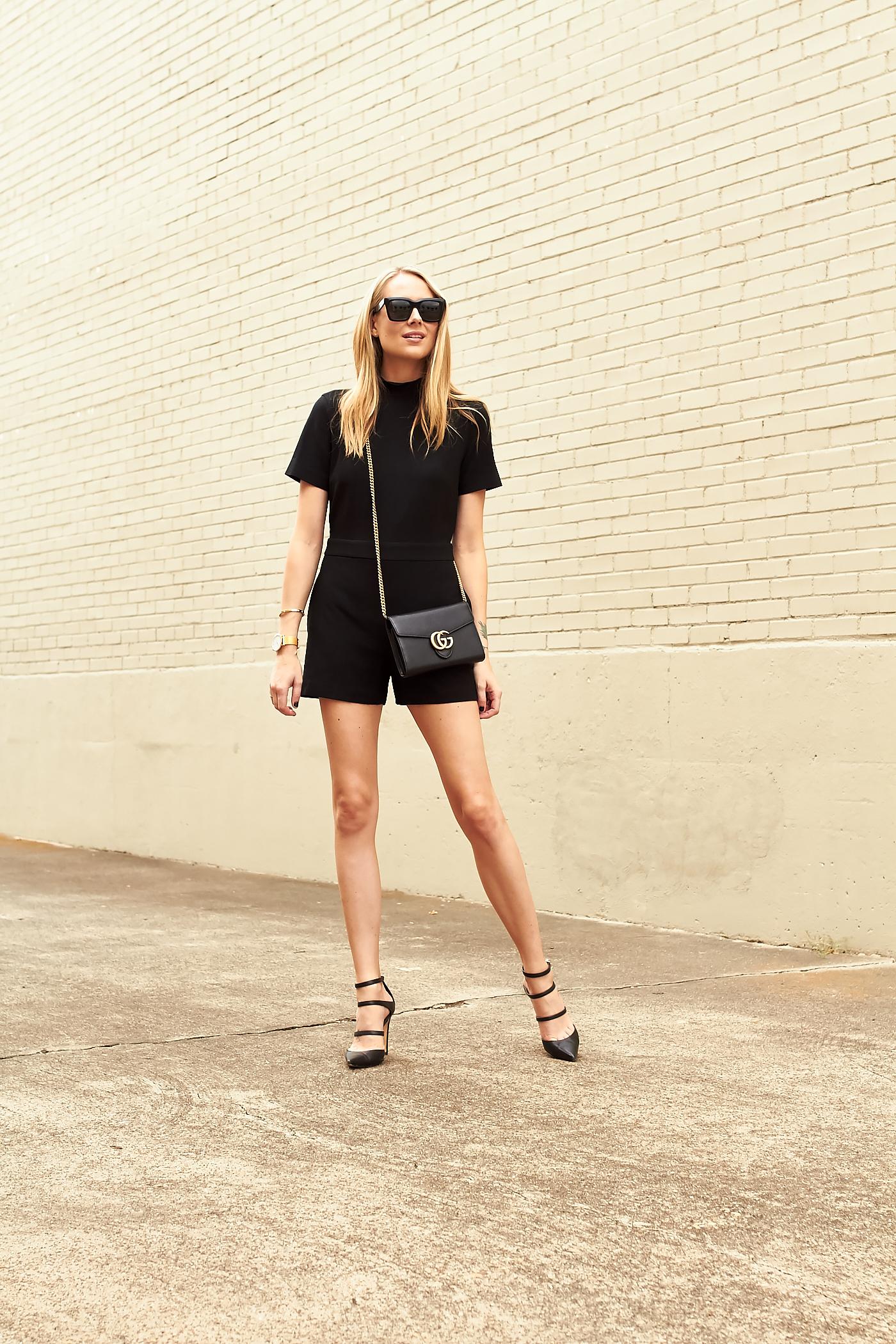 fashion-jackson-black-romper-black-gucci-marmont-handbag-black-strappy-pumps