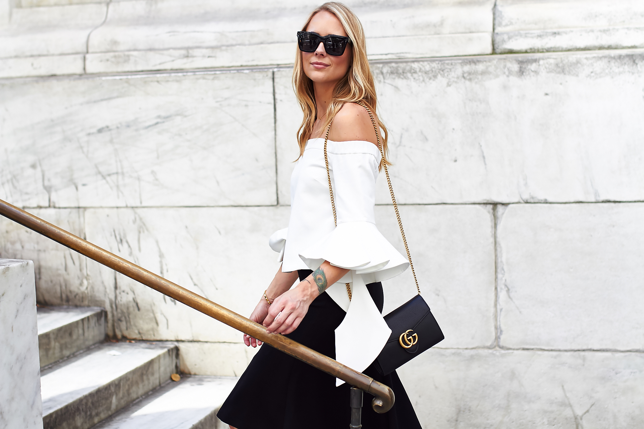 fashion-jackson-chicwish-white-off-the-shoulder-ruffle-sleeve-top-black-celine-sunglasses-gucci-marmont-handbag