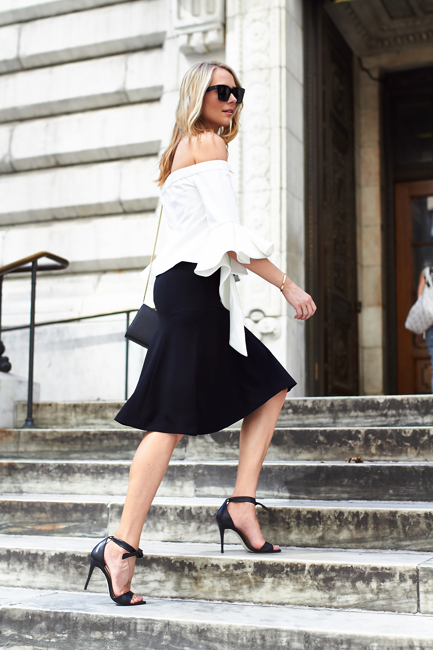 fashion-jackson-chicwish-white-off-the-shoulder-ruffle-sleeve-top-club-monaco-black-midi-skirt-black-bow-heels