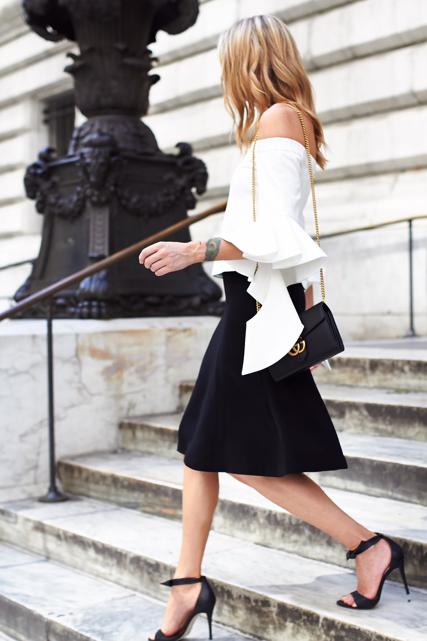 fashion-jackson-chicwish-white-off-the-shoulder-top-club-monaco-black-midi-skirt-black-heels