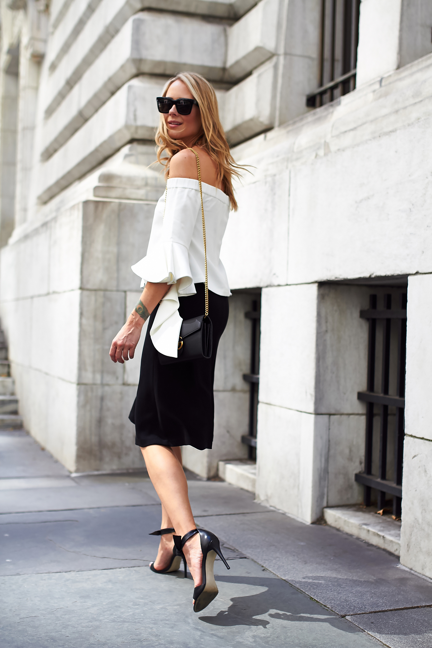 fashion-jackson-chicwish-white-ruffle-off-the-shoulder-top-black-midi-skirt