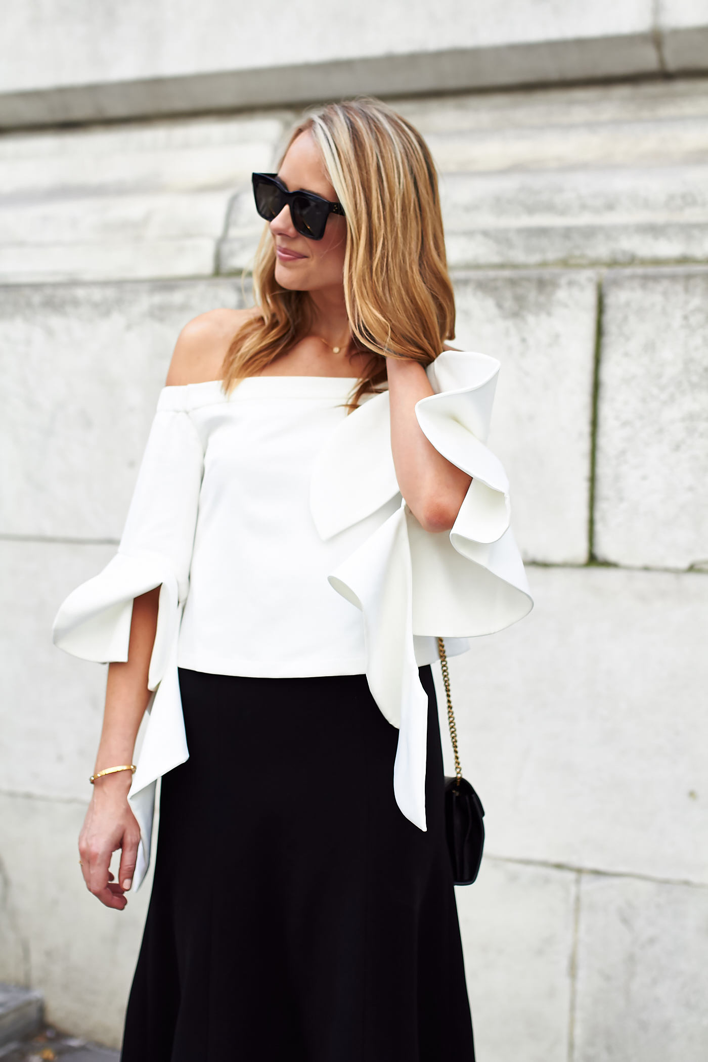 fashion-jackson-chicwish-white-ruffle-sleeve-off-the-shoulder-top-black-celine-sunglasses