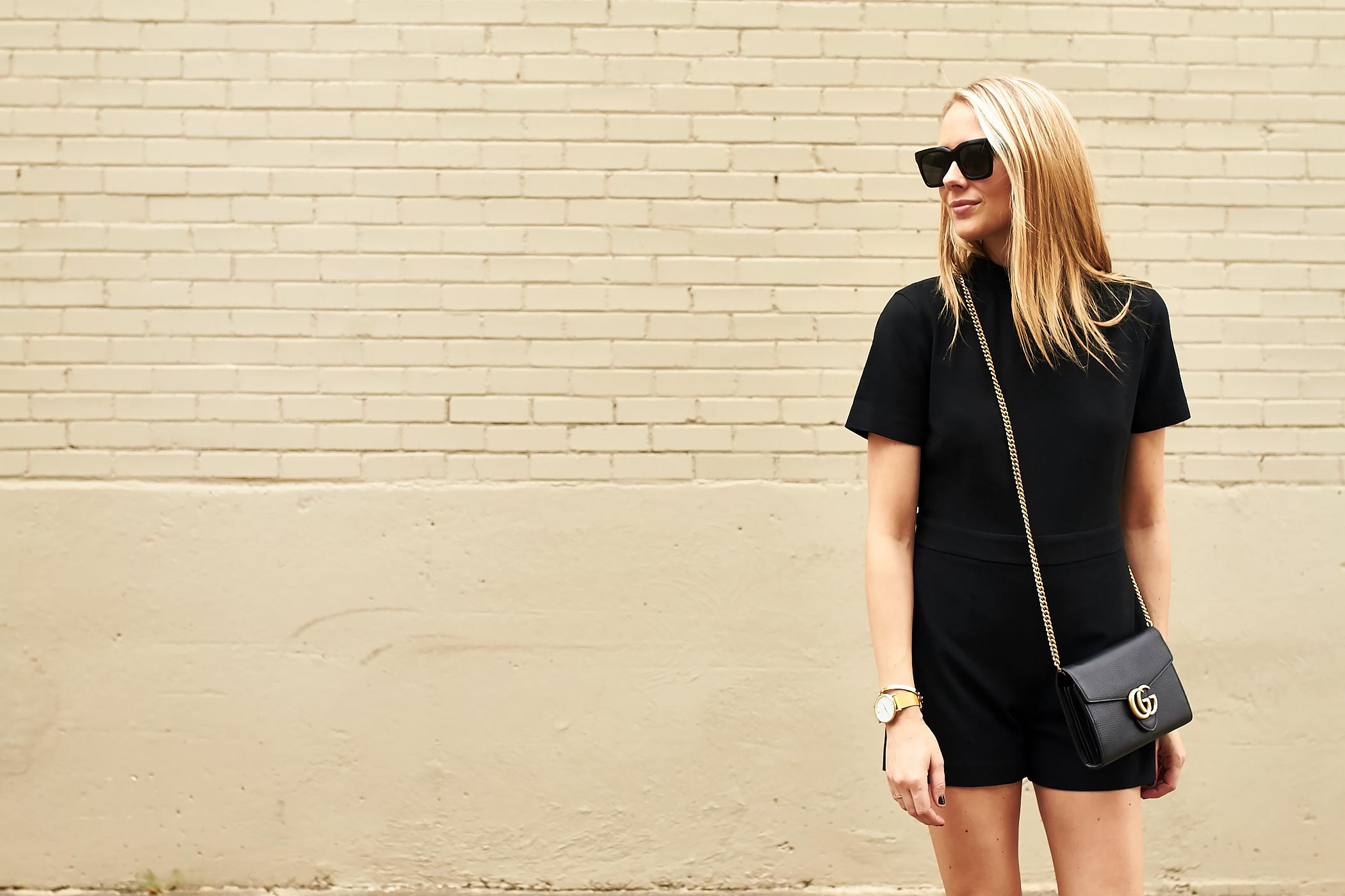 fashion-jackson-club-monaco-black-philena-romper-black-gucci-marmont-handbag-black-celine-sunglasses